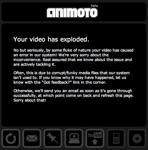 Screenshot: Animoto: Your video has  exploded