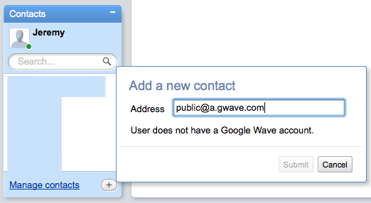 Entering public@a.gwave.com as a contact on Google Wave