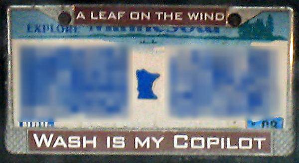 MN Plate with frame - A LEAF ON THE WIND - WASH IS MY  COPILOT